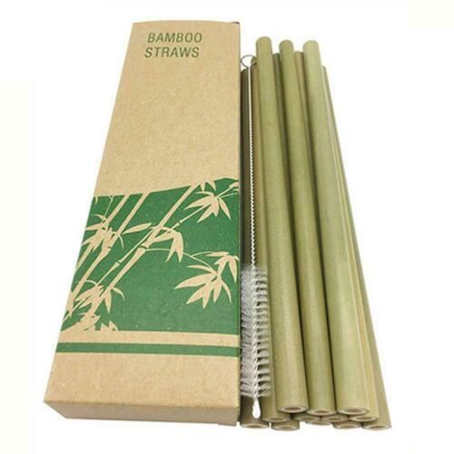 12X Bamboo Drinking Straws Reusable Eco-Friendly Party Kitchen /& Clean Brush Kit