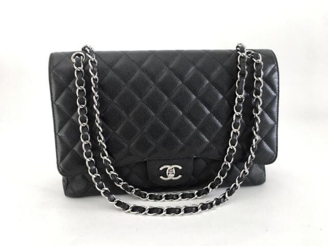 617bbafdeb42 Chanel Classic Maxi Black Caviar Single Flap Bag SHW w Authenticity Cert