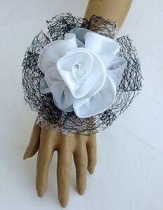 New-Bespoke-Black-White-Wrist-Corsage-Bride-Bridesmaid-Wedding-Guest-Proms-Races