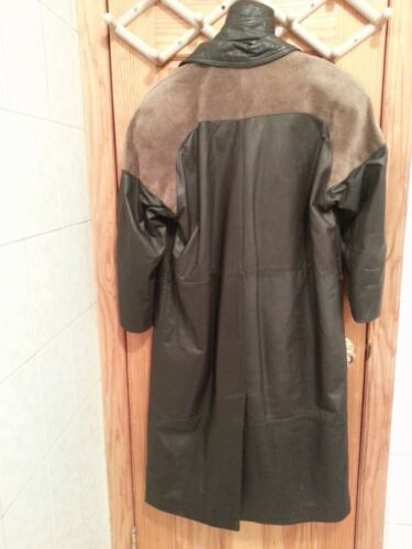 Black med Brown Coat Trench Leather Skulder Suede Gbny gdqwz7g