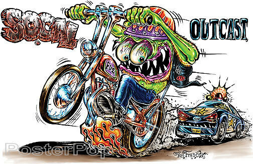 Social Outcast STICKER Decal Motorcycle Fink Art Von Franco VF47 Roth Like