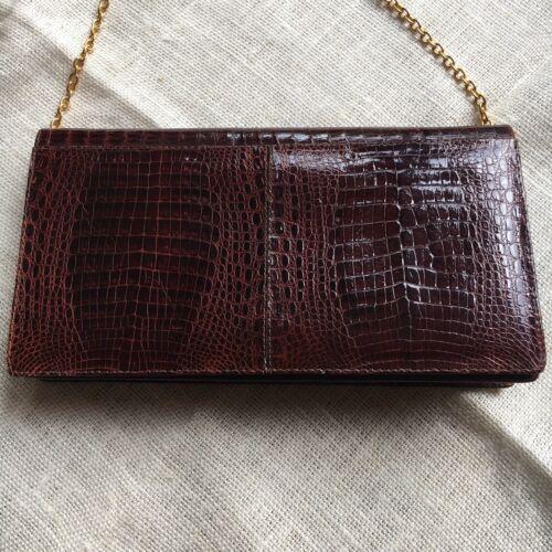 echt Goudkleurige 1970s Vintage metalen Luxury Rar leer Bruin Bag Cognac Evening ketting IqwZx1OAUZ