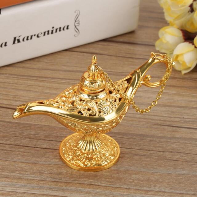 1x Aladdin Magic Genie Light Oil Lamp Pot Mini Stunning Decor Golden