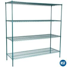 "Regency Heavy Duty Commercial Green Epoxy Wire Storage Shelf Rack Kit 74"" Posts"