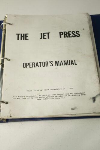 Halm Jet Press Operation Manual