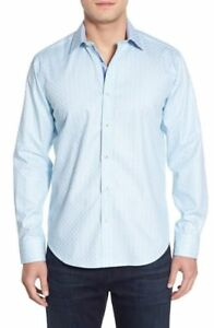 NWT-Bugatchi-Shaped-Fit-Check-Sport-Shirt-NWT-S-M