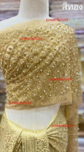 Details about  / Women Sabai Pearl Bead Wrap Top Thai Nation Blouse Wedding Dress Gold Glitter