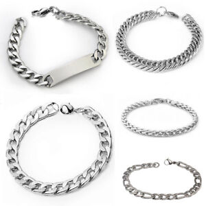 Men-039-s-Punk-Silver-Stainless-Steel-Link-Chain-Bracelet-Wristband-Bangle-Jewelry