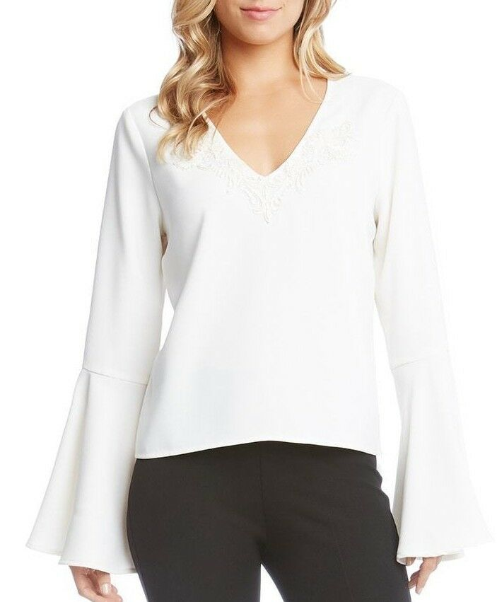 Karen Kane 4L17339 Cream Bead Embellished Bell Sleeve Crepe Top -