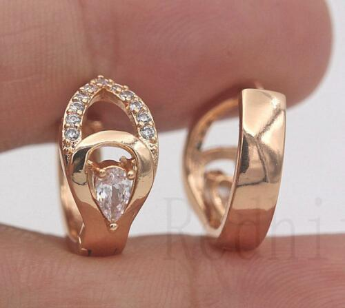 18K Gold filled-multialyer Creux Goutte TOPAZ Zircon Femmes Parti Boucles d/'oreilles
