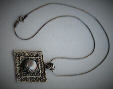 "Israel Styled 17"" Sterling Silver Pearl Swirl Square Pendant Necklace"