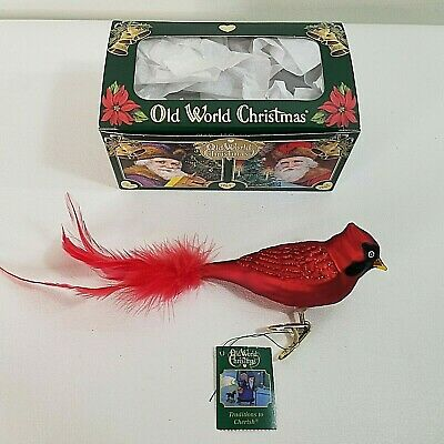RESTING CARDINAL OLD WORLD CHRISTMAS GLASS RED BIRD CLIP ON ORNAMENT NWT 18041