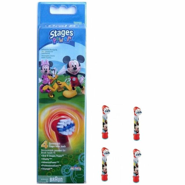 4 x Oral-B Mickey Mouse Stages Power Kids Replacement Electric Toothbrush Heads