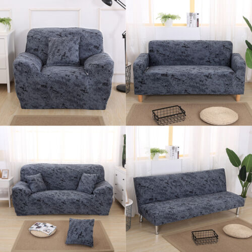 1//2//3-seater Comfortable Stretch Elastic Sofa Couch Slip Cover Dark Grey