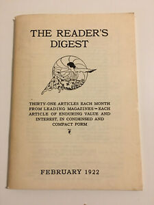 Reader-039-s-Digest-Feb-1922-Vol-1-No-1-reprint-from-1957-with-letter-to-reader