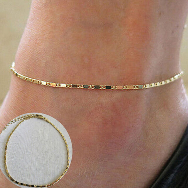 Women Gold Chain Anklet Ankle Bracelet Barefoot Sandal Beach Foot Jewelry BR