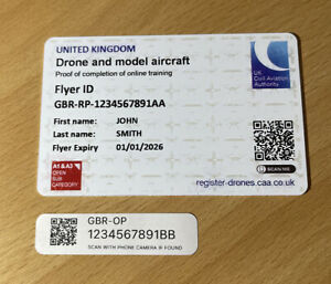 Drone Stickers & Drone Card - CAA Flyer ID Card + 5 x Drone Operator QR Stickers
