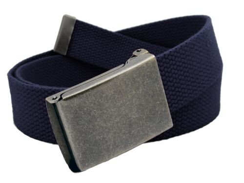Men/'s Distressed Silver Flip Top Military Belt Buckle with Canvas Web Belt
