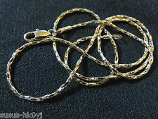 """9K Gold Filled 17"""" Square Twist 1.5mm Link Chain Necklace Lobster Clasp"""