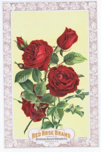 Red Rose  Rosedale raisin vineyard vintage crate label 1890/'s Dickman Jones