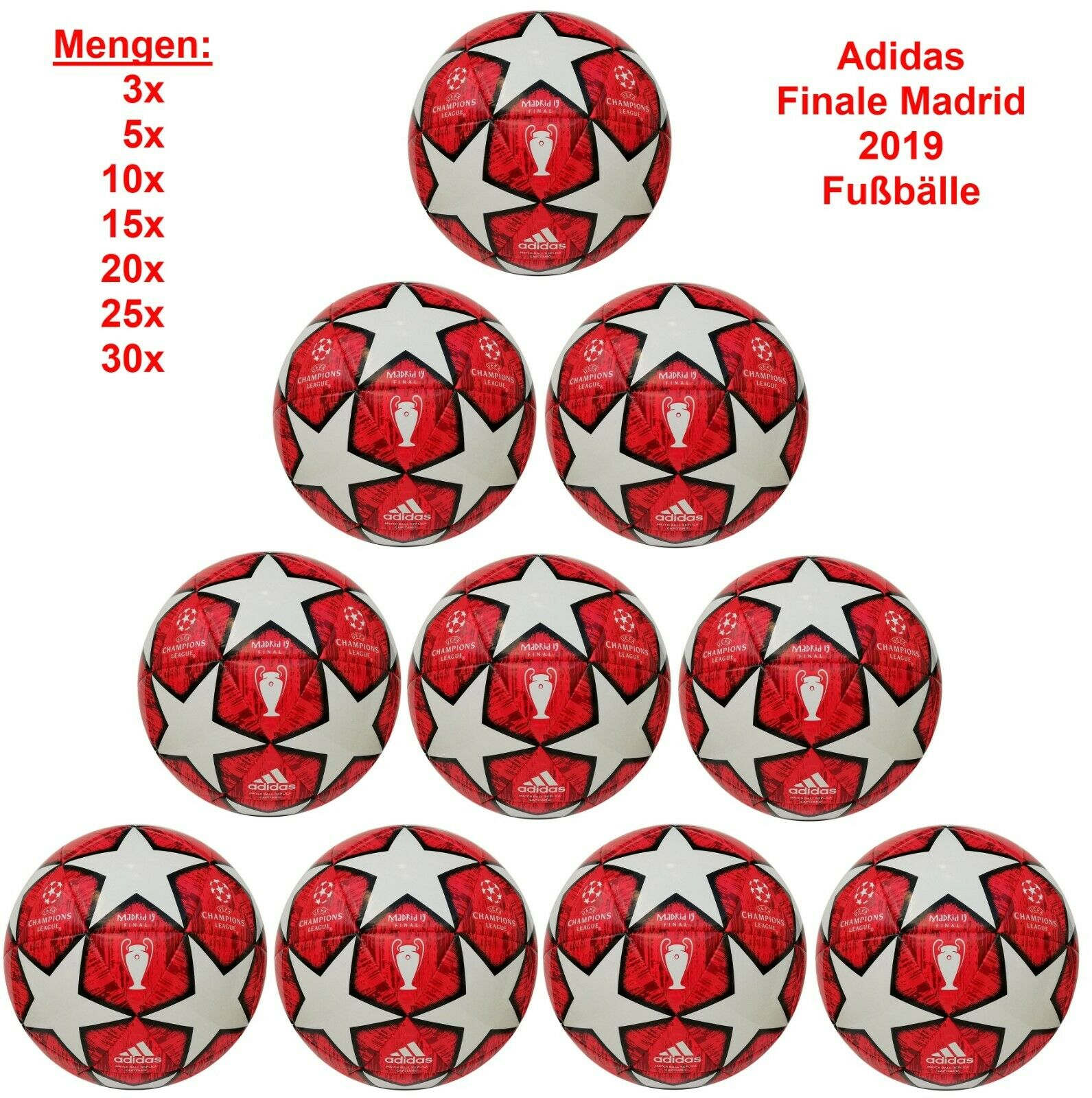 Adidas Capitano Madrid 2019 Finale 19 Trainingsbälle Champions League Ballpaket