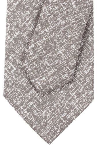 NWT EIDOS by ISAIA pure silk TIE dove-grey white luxury handmade Italy