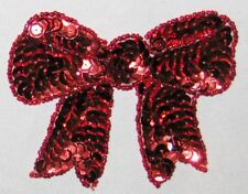 """Decorative Fancy Craft 3 3/4"""" Bead Sequin RED RIBBON BOW Patch"""