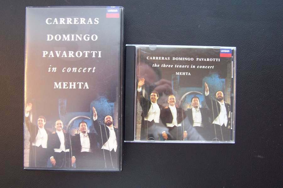 Carreras Domingo Pavarotti in Concert MEHTA VHS Tape &