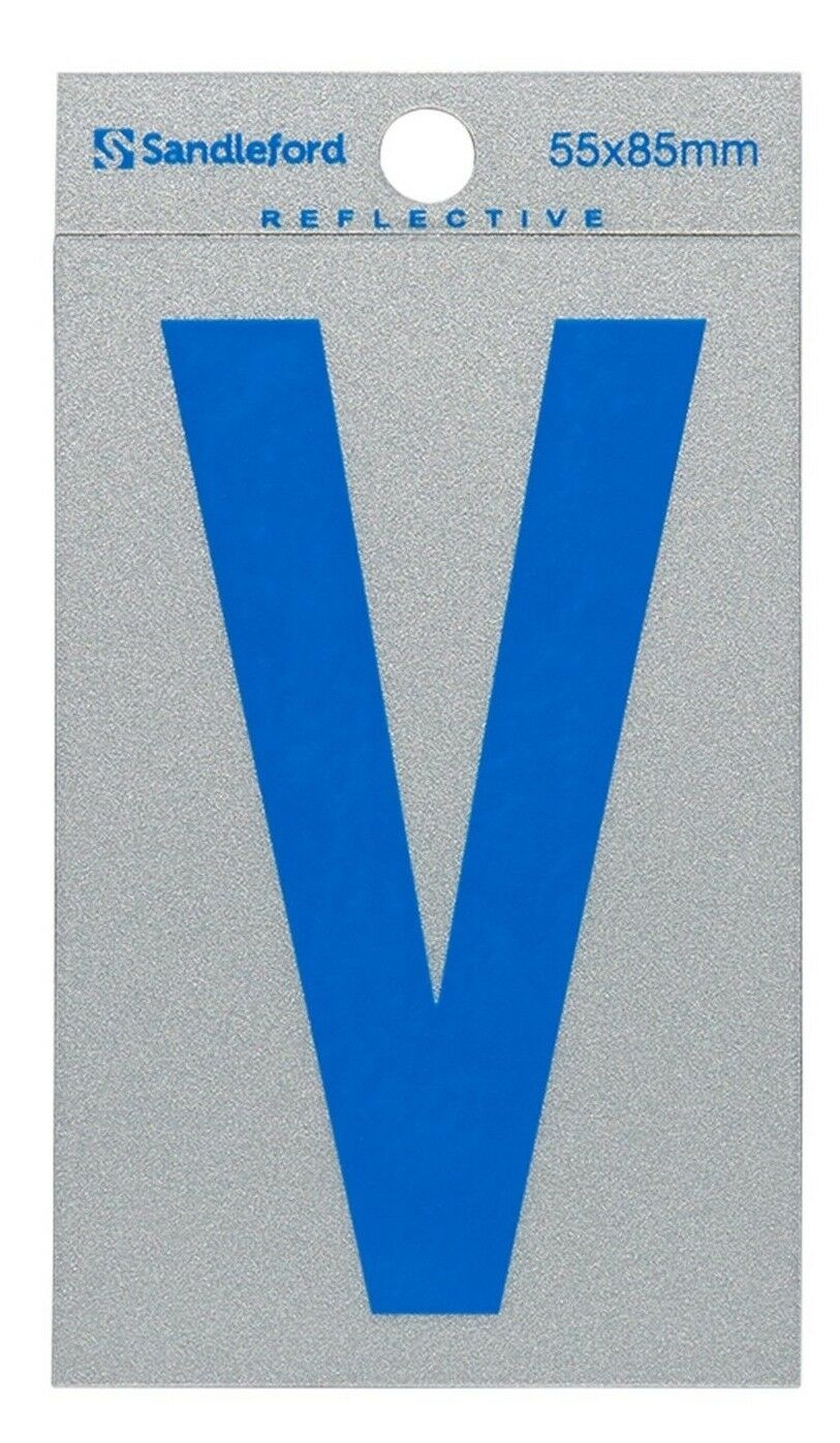 8x Sandleford SELF ADHESIVE Blau REFLECTIVE LETTER  V  85x55mm Gloss Finish