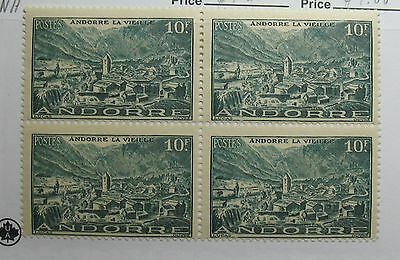 Stamps Honest 1944 Andorra French 10 Fr Scott# 98 Michel # 125 Unused Block Nh Cs27961 Clearance Price