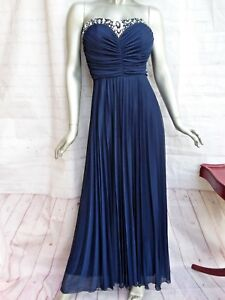 Women s Medium Gown Navy Blue Strapless Sz 7 8 Long Pleated Jewelry ... 210aac0fa