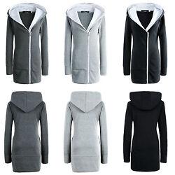 Damen Fleecejacke Kapuze Winterjacke Lange Hoodie Winter Jacke Mantel GR.34-48
