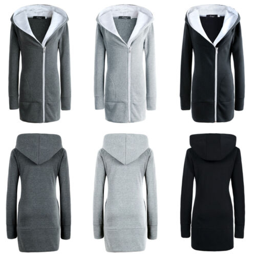 Women Zip Up Hoodies Jacket Casual Sweatshirt Winter Warm Hooded Coat Outwear