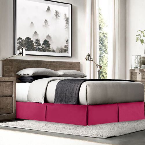 """Hotel Luxury Pleated Tailored Bed Skirt 14"""" Drop Dust Ruffle Full XL-Hot Pink"""