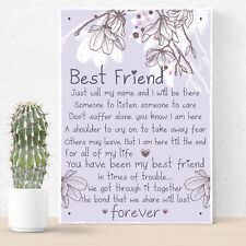 Friendship Gift Best Friend Plaque Sign Thank You Birthday For Her Keepsake