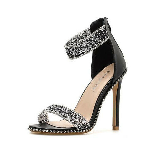 Sandale stiletto eleganti 11 cm nero stras simil pelle simil pelle eleganti 9462