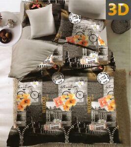 4-tlg-3D-Effekt-Bettwaesche-Bettbezug-Bettgarnitur-155x200cm-England-Welcome-Turm