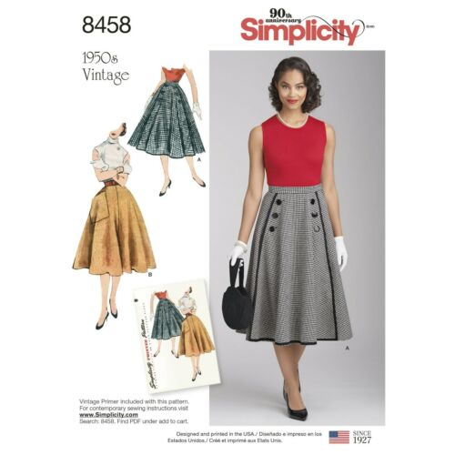 8458 PATRON SIMPLICITY VINTAGE REEDITION  DES ANNEES 50 JUPE EVASEE T 34 AU 52