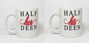 d7438fa061b Personalised Mug Half her   Half His Deen MUG SET - FAST DELIVERY ...