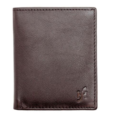 205 BROWN STARHIDE SLIM REAL LEATHER CREDIT CARD HOLDER MINI CARD CASE WALLET