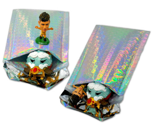 4X8 Metallic Bubble Mailers,Teal Holographic Padded Shipping Mailing Envelopes