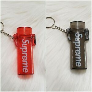 Supreme-2-Waterprooof-Lighters-Cases-Keychain-Black-And-Red
