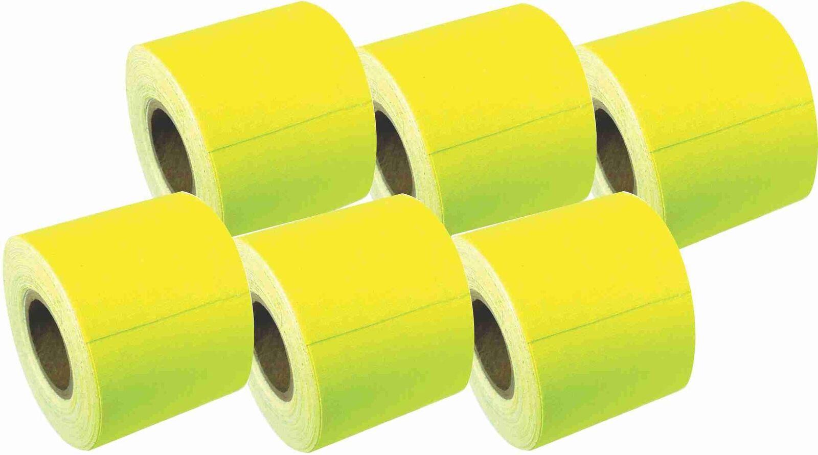 2  x 8 YARD MINI ROLL GAFFERS TAPE - FLORESCENT Gelb - 6 Pack