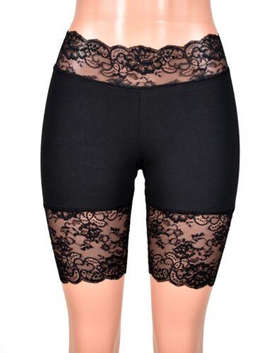 Black Stretch Lace Shorts XS S M L XL 2XL 3XL plus size shortie cotton spandex