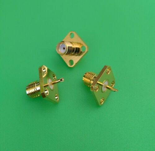 SMA Female Chassis Panel Mount 4 Hole Solder Connector 5 PCS USA Seller