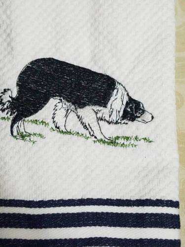 Border Collie Herd Herding Kitchen Tea Towel Custom Embroidery