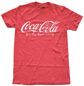Coca-Cola-Logo-It-039-s-the-Real-Thing-Red-Heather-Men-039-s-Graphic-T-Shirt-New