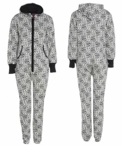 Donna Amore adulto in Pile Cappuccio Onsies girapesci Tuta Unisex nightwear pigiama tutto in 1
