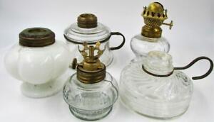 Antique-Lot-5-Glass-Miniature-Oil-Kerosene-Lamps-Assorted-Nutmeg-Vapo-Cresolene