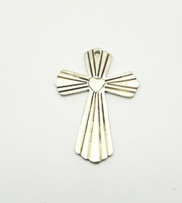 Cross with Lace Trim and HP Center 925 Sterling Silver Religious Charm Pendant